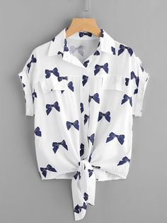 Knotted Hem Bow Print Shirt - French Shirt - Ideas of French Shirt - Knotted Hem Cuffed Bow Print ShirtFor Women-romwe Girls Fashion Clothes, Teen Fashion Outfits, Stylish Outfits, Kids Outfits, Girl Fashion, Ootd Fashion, Style Fashion, Roll Up Sleeves, Shirt Sleeves