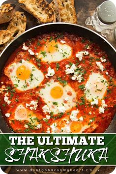 Here I'll give you some tips and tricks to making the BEST Shakshuka. Made wit. Here I'll give you some tips and tricks to making the BEST Shakshuka. Made with pantry staples and served with crumbled feta, this truly is the ultimate brunch. Vegetarian Recipes, Cooking Recipes, Healthy Recipes, Cooking Bacon, Vegetarian Brunch, Healthy Food, Cooking Rice, Kosher Recipes, Simple Recipes