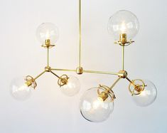 Globe Chandelier Lighting Fixture 5 Hanging Clear by BootsNGus