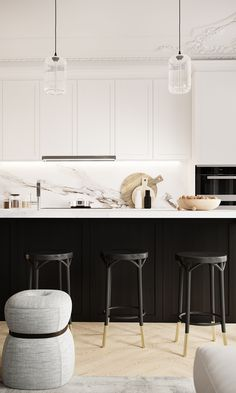Black and white kitchen but still soft and sophisticated I've been thinking of getting new kitchen for my place from the moment I saw it and finally I am seriously starting to get on it! Photo from Shaker Kitchen, Kitchen Sets, Home Decor Kitchen, Kitchen Interior, New Kitchen, Kitchen Dining, Kitchen Cabinets, Kitchen Cupboard, Cupboard Doors