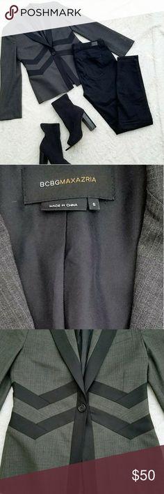 BCBG Wool Blend Chevron Print Martine Blazer BCBG Blazer  Size S Gray with black detail Chevron Striped Detail Wool Blend Fully lined Small shoulder pads for structure Single button closure Faux Shoulder Pocket BCBG Jackets & Coats