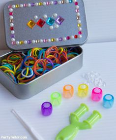 self-contained travel rainbow looming kit or rainbow loom party activity kit - use rhinestone stickers to decorate box