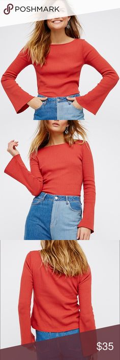 Free People Cora Top Adorable bell sleeve, ribbed Free People Beach Cora Top in canyon rose. Size small sold out online. Like new, hand washed once, no flaws. Free People Tops