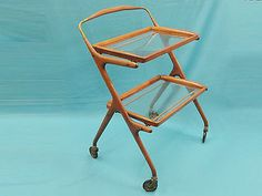 RARE-50-039-s-ITALY-CESARE-LACCA-LACQUERED-WALNUT-REMOVABLE-TRAYS-BAR-CART-TROLLEY