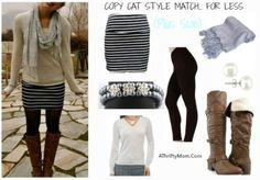 "On the left is an over priced but adorable outfit from a style magazine.  I did my best to ""Style Match.. For Less""  with items low as $3.96 or you can order the whole outfit with boots for low as $94.65.  What do you think of this style match,..."