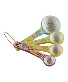 Look at this Four-Piece Floral Bird Measuring Spoon Set on #zulily today!