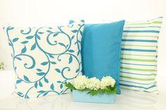 Kissenhüllen in frischen Farben für den Sommer. Gemustert, gestreift oder uni.