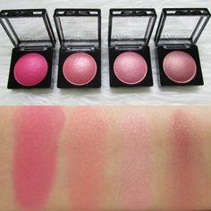 Swatches: NYX Cosmetics Baked Blushes - Statement Red, Ladylike, Foreplay, Chiffon
