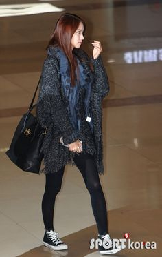 SNSD Yoona | chunky sweater + chucks