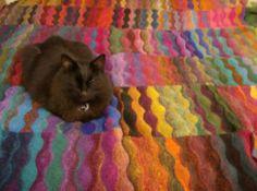 Lizard Ridge afghan. Kitty-approved.