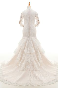 Fabulous Trumpet-Mermaid Illusion Dropped Court Train Tulle and Lace Ivory/Champagne 3/4 Length Sleeve Zipper With Buttons Wedding Dress with Appliques LD4209 #weddingdresses #cocomelody #backinterestdresses #customdresses #mermaiddresses