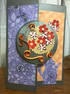 Handmade greeting card with flower template, using paper quilling technique