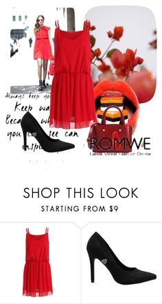 """""""Red Chiffon Dress"""" by neiraalajmovic ❤ liked on Polyvore featuring GUINEVERE, Urban Decay and romwe"""