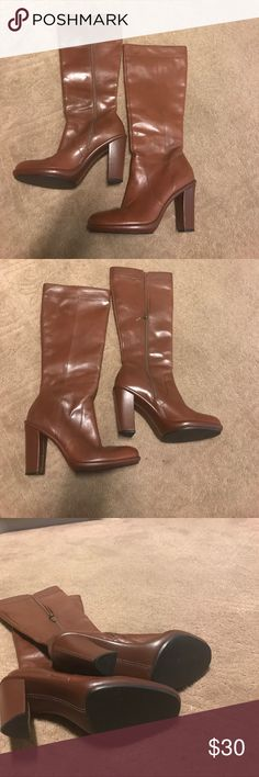 Women's leather Boots Gently used Women's Knee Boots with size zipper. Size 7 Tommy Hilfiger Shoes Over the Knee Boots