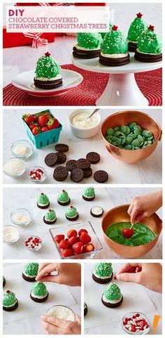 A festive twist to chocolate covered strawberries! Christmas Chocolate, Christmas Sweets, Christmas Cooking, Christmas Crafts, Christmas Appetizers, Christmas Ideas, Xmas, Holiday Treats, Holiday Recipes