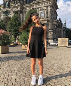cbd5d7875b7d Fila shoes and black short dress Black Fila Shoes, School Outfits, Fila  Outfit,