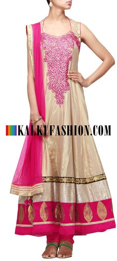 Get this beautiful golden outfit here: http://www.kalkifashion.com/gold-anarkali-suit-embroidered-in-gotta-patti-and-resham-embroidery-11175.html Free shipping worldwide. #50ShadesOfGold