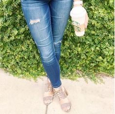 Distressed jeans with open toe heels to transition from summer to fall! Follow @alexandrachammer on Instagram for more fashion, beauty and lifestyle posts! ♥