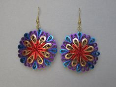Quilling Earrings Red Purple Blue Gold Metallic ♥ by BarbarasBeautys, $18.00