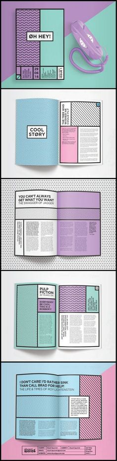 This layout of book is very much a pop art feel with the bold back lines and typography as well as the bright colours that are of a pop art nature and seems like a cartoon style book. Graphisches Design, Buch Design, Game Design, Design Ideas, Logo Design, Pop Art Design, Design Trends, Funky Design, Cover Design
