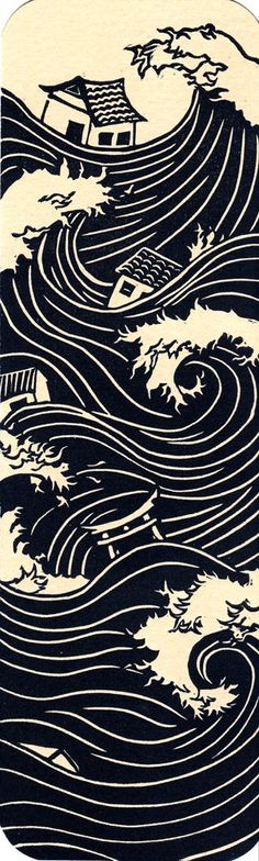 gorgeous bookmark sized Japan tsunami print in indigo ink .....  sells for just $10 and half of that gets donated to Japan relief.