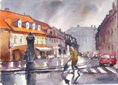 Stara Vlaška, Zagreb, 37x27,akvarel
