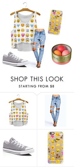 """""""BFF day !!! :-)"""" by ladybird-2 ❤ liked on Polyvore featuring Boohoo, Converse, Casetify and Eos"""