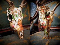 Fallow Deer Skull // Garden // Fully Collaged Skull by MyrandaE