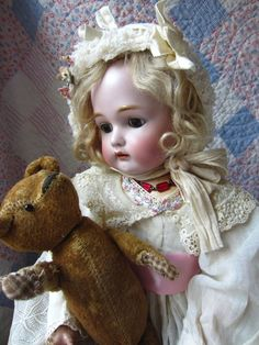 """SWEETEST ANTIQUE 23"""" K*R SIMON&HALBIG BISQUE PIERCED EAR DOLL&JOINTED TEDDY BEAR"""
