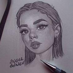 ArtStation - Pencil Sketches 📐, Angel Ganev # '' facedrawing ''Using the pen illustrating proc Girl Drawing Sketches, Cool Art Drawings, Pencil Art Drawings, Face Sketch, Drawing Faces, Sketches Of Girls, Tumblr Drawings, Drawing Girls, Girl Drawings