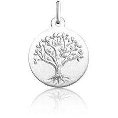Médaille Arbre de Vie Relief Or Blanc 18K - Argyor