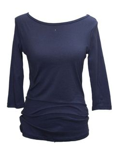 YogaColors Grey Crystal Boatneck 3/4 Sleeve Longer Length Jersey Tee (X-Large, Navy) - Travel Bag & Baggage.com