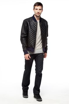Jaqueta - Malha Matelassê Pointille e Leather Basic #COUROS #matelasse #FocusTextil