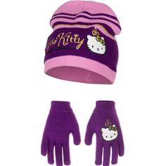 Paarse Hello Kitty winterset. Deze paarse Hello Kitty winterset bestaat uit een sjaal, muts en handschoenen. Gemaakt van acryl. Maatindicatie: 52 = (3/5 jaar) en 54 = (6/8 jaar).