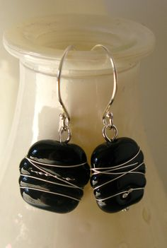 SALE  Black Earrings with Fine Silver Wire. by AussieJulesOnline, $25.00