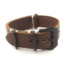 Chocolate Brown Crazy Horse Leather ZULU Watch Strap (Black PVD, 20mm, 22mm) #CozyAccessories