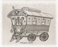 """Since last week, I started illustrating and visualizing the """"Danny the champion of the world"""" by Roald Dahl .Its a simple story but its has. Gypsy Horse, Gypsy Wagon, Adult Coloring Pages, Coloring Books, Coloring Sheets, Gypsy Caravan Interiors, Wood Carving For Beginners, Champions Of The World, Art Drawings Beautiful"""