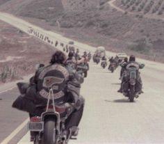 """Thank God, it's the Hells Angels. Hells Angels, Biker Clubs, Motorcycle Clubs, Biker News, Old School Motorcycles, Biker Quotes, Vintage Biker, Teddy Boys, Old Bikes"