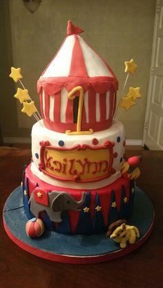 Circus themed 1st birthday cake. Soooo adorable! Deb's