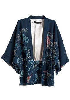 Navy Blue Bat Sleeve Loose Cotton Blend Suit