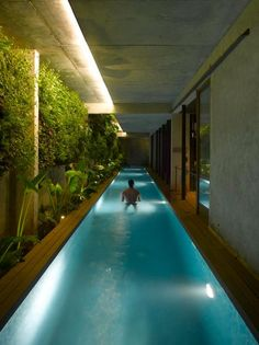 A modern indoor lap pool
