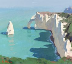 Day 9 of Étretat, France. Gouache on paper, in. Gouache Painting, Painting & Drawing, Painting Canvas, Spray Painting, Abstract Landscape, Landscape Paintings, Painting Inspiration, Art Inspo, Arte Popular