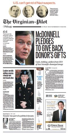 The Virginian-Pilot's front page for Wednesday, July 31, 2013.
