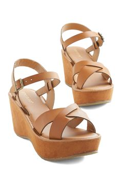 Wear It Well Wedge in Cognac - Mid, Faux Leather, Tan, Solid, Casual, Beach/Resort, Summer, Good, Platform, Wedge, Variation