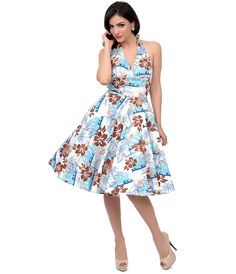 Swing Dress 1950s Style Blue & Brown Hibiscus Floral Halter Tiki Swing Dress