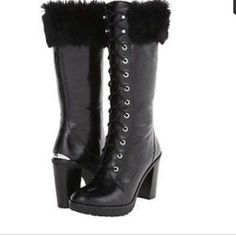 Michael Kors NEW Black Lace- Up Heeled Tall Boots Michael Kors Brand New Black Leather Lace up Tall Boots with Faux Fur Trim!  Gorgeous Cold Weather Boots with Rubber Traction Heels!  Stay Warm & Cozy and Look Fabulous!  MICHAEL Michael Kors Shoes Winter & Rain Boots
