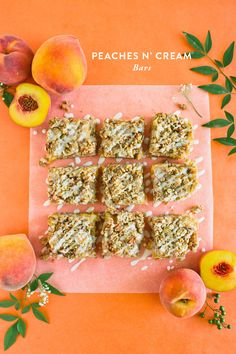 Peaches N' Cream Bars, The Perfect Update To A Peach Cobbler. Perfect For End of Summer Entertaining. Sweet Recipes, Snack Recipes, Dessert Recipes, Muesli Bars, Creative Desserts, Tasty, Yummy Food, Dessert Bars, Healthy Treats
