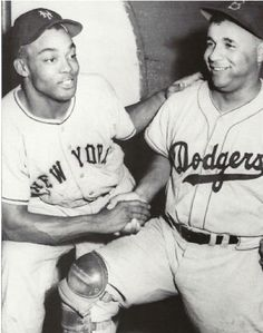 Monte Irvin, pictured here with Roy Campanella, New York rivals in the Baseball Movies, Baseball Star, Dodgers Baseball, Baseball Photos, Cardinals Baseball, Mlb Players, Baseball Players, Baseball Teams