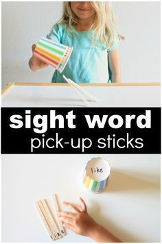 Sight Word Pick-Up Sticks Game! A fun hands-on way for kids to work on CVC words! Perfect for kindergarten and first grade kids! #sightwordgames #literacycenters