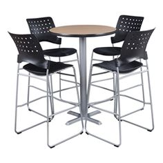 "Learniture Round Pedestal Stool-Height Cafe Table (36"" Diameter) and Ballard Cafe Stool Set https://www.schooloutfitters.com/catalog/product_info/pfam_id/PFAM50113/products_id/PRO66716"